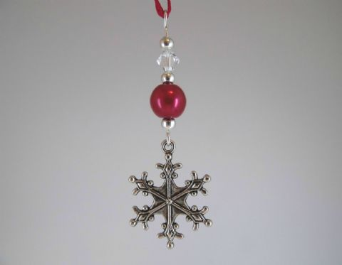 Silver Snowflake, Red Pearl Bead & Crystal - Xmas Tree Decoration